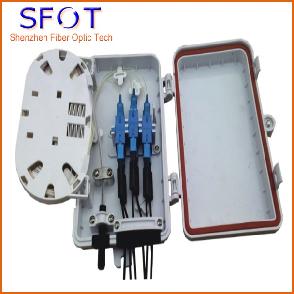 6 Port termination box for steal tube type Splitter, Fitted with 1x4 steal PLC splitter SC/UPC and 6pcs SC/UPC adaptors