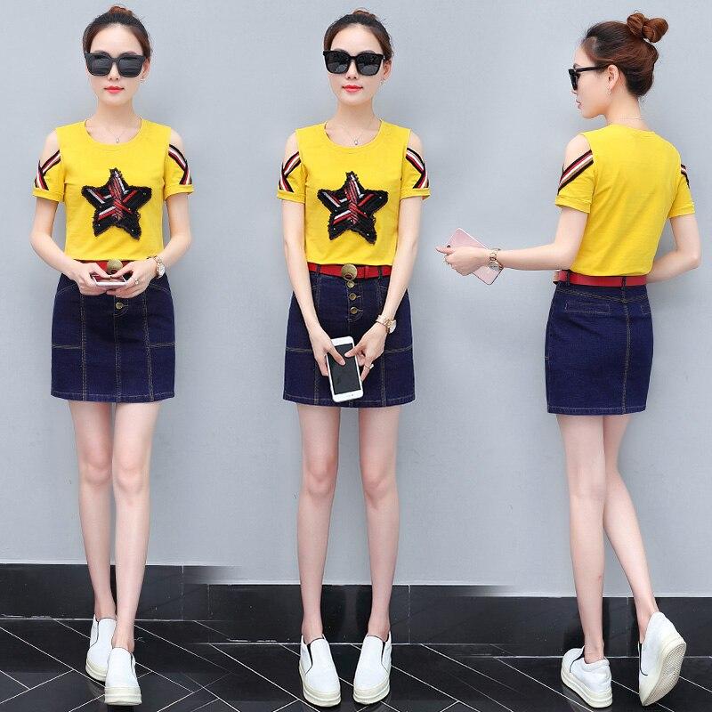 a8728a8ce9cb Pcs Jupe Kit Red Courte Dames Nouvelle De Denim D été coréen black  Printemps yellow Deux white Manches Mode 2018 Robe T Costume Femmes ...