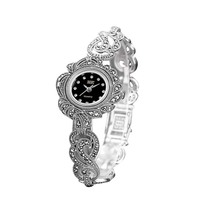 Women Leaves Style Pave Marcasite Thai 925 Sterling Silver Wrist Watches Real Pure Silver Bracelet Watches Real Silver Bangle