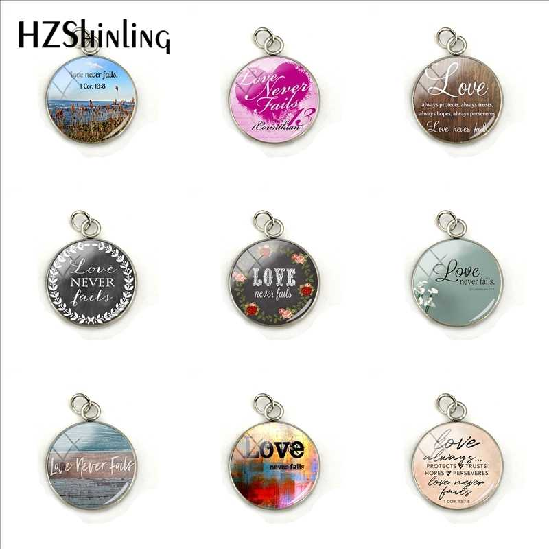 2019 New Love Never Fails 1 Cor.13  Trusts Hopes Stainless Steel Charms Glass Pendants Jewelry