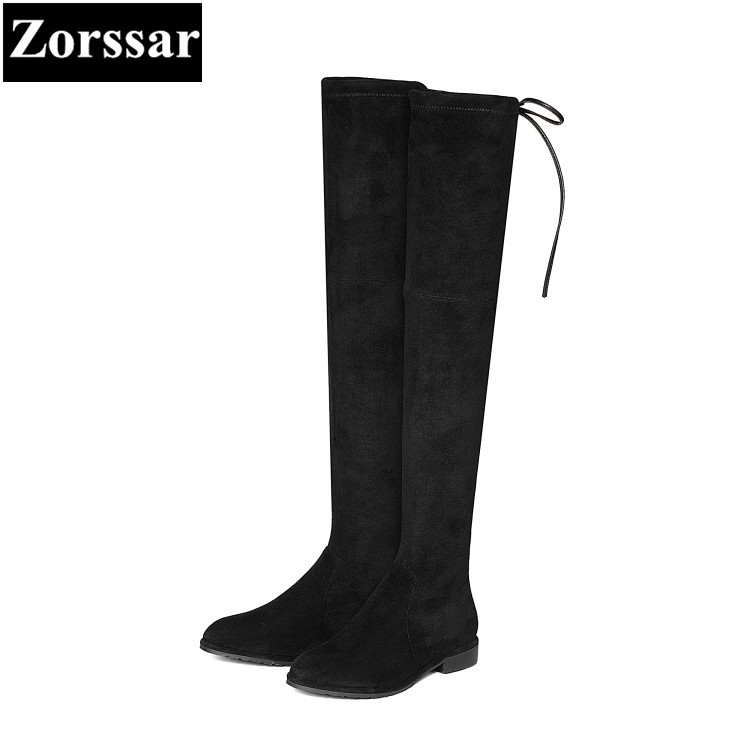 {Zorssar} 2018 New arrival winter Fur Women shoes Round Toe Flat heel Knight boots Kid Suede flats womens over-knee snow boots doratasia big size 34 43 women half knee high boots vintage flat heels warm winter fur shoes round toe platform snow boots