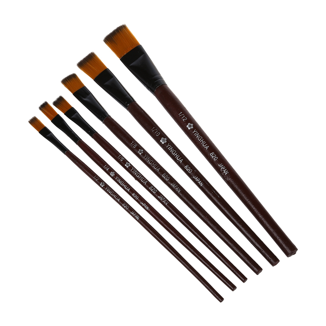 NHBR-Pack of 6 Art Brown Nylon Paint Brushes for Acrylic