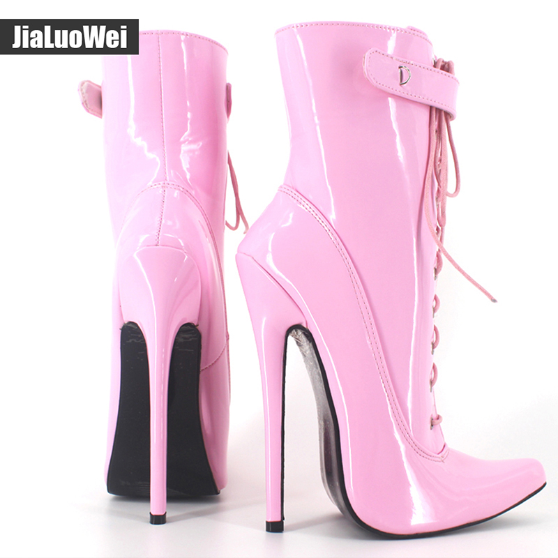 JIaluowei New Women Sexy Fetish 18cm Thin High-Heel Patent Leather Lace-Up pointed Toe Ankle Boots Women Motorcycle Boots