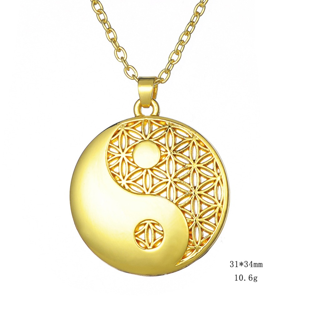 my shape Dropshipping Gold-color Round Shape Flower of Life Pendant Religious Yin Yang Necklace Women Jewelry Christmas Gifts