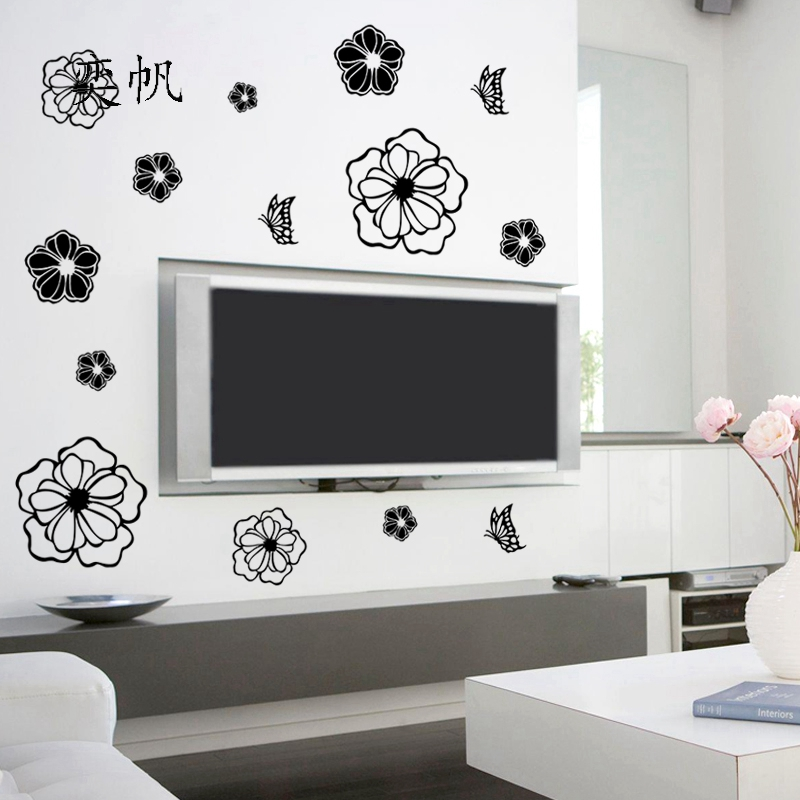 1Pcs Refrigerator Sticker Wall Stickers-Butterfly And Flowers Shape-Bedroom Kids Rooms Home Decoration Art Sticker Poster