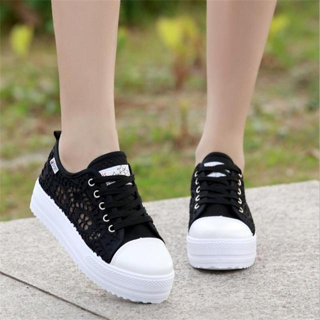Sneakers Women Fashion Breathable Platform Casual shoes dropshing Lace Leisure flat white canvas Women's Vulcanize Shoes CLD902 5
