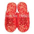 Новая Мода Hot Spring Осень Зима Домой Китайский Красный Хлопка Мягкой Свадебные Тапочки Женщин Крытый Напольные Теплые Тапочки плоские Туфли