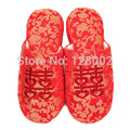 New Fashion Hot Spring Autumn Winter Home Chinese Red Cotton-Padded Wedding Slippers Women Indoor\Floor Warm Slippers Flat Shoes