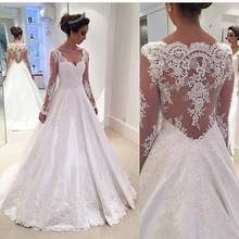Vestido de noiva Sexy Long Sleeves A Line Wedding Dress 2017 Custom made Bridal Gowns Lace Appliques Sweep Train Robe Mariage