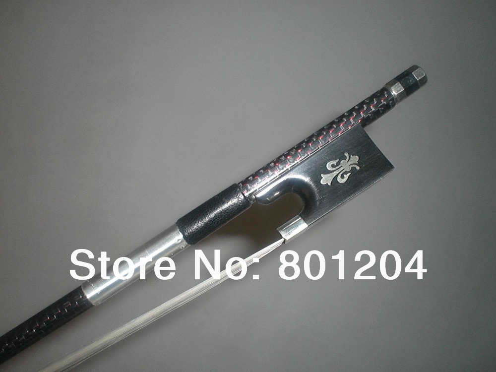 2 PCs 4/4 Strong Balanced Carbon Fiber Violin Bow pro red wire inlay decoration with Ebony Frog 1003# 1 pcs carbon fiber wood violin bow 4 4 straight pretty inlay high quality r 015