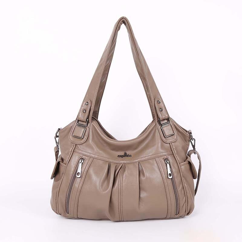 Высокое качество модные ручка сумка 2 Топ застёжки молнии плеча из состаренной искусственной кожи для женщин сумки леди на плечо