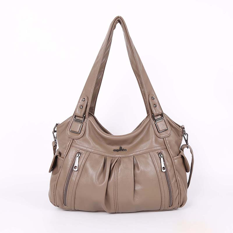 High Quality Fashion Handle Satchel 2 Top Zippers Shoulder PU Washed Leather Tote Bag