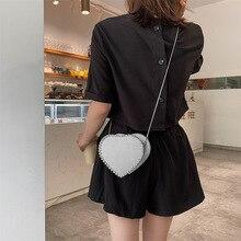 цена на Women's Leather Handbags Clutches Evening Bags Women's Heart-Shaped Metal Chain Shoulder Crossbody High Quality Inlay