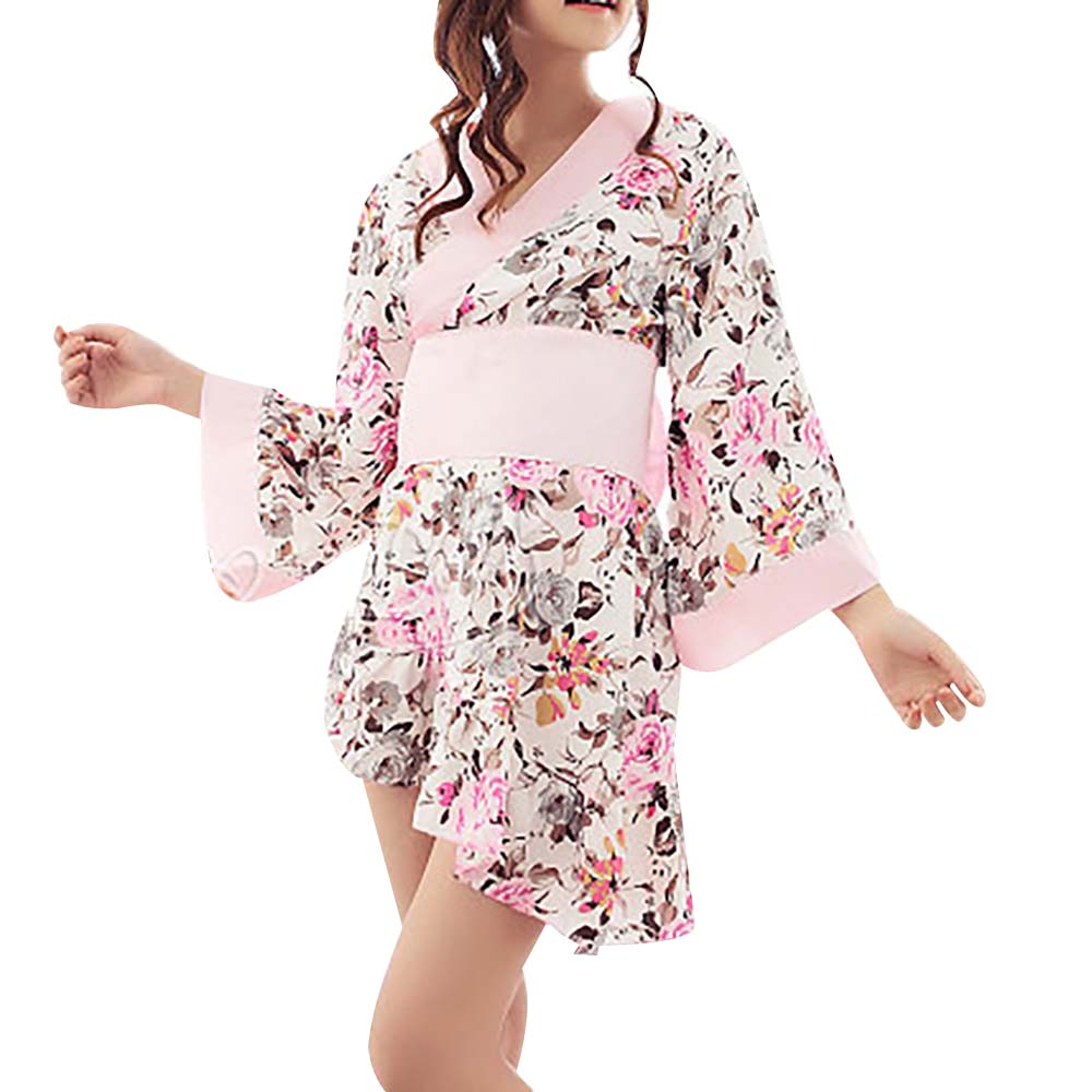 Ladies Sweet Floral Kimono Wrap Asymmetric Mini Dress with Obi Belt Sexy Japanese Kimono Cosplay Short Bathrobe Lingerie Outfit