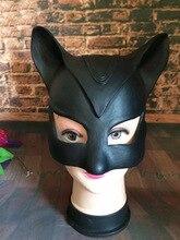 Sexy Negro MasqueThe Dark Knight Rise Catwoman Cosplay Máscara De Látex para la Fiesta de Halloween