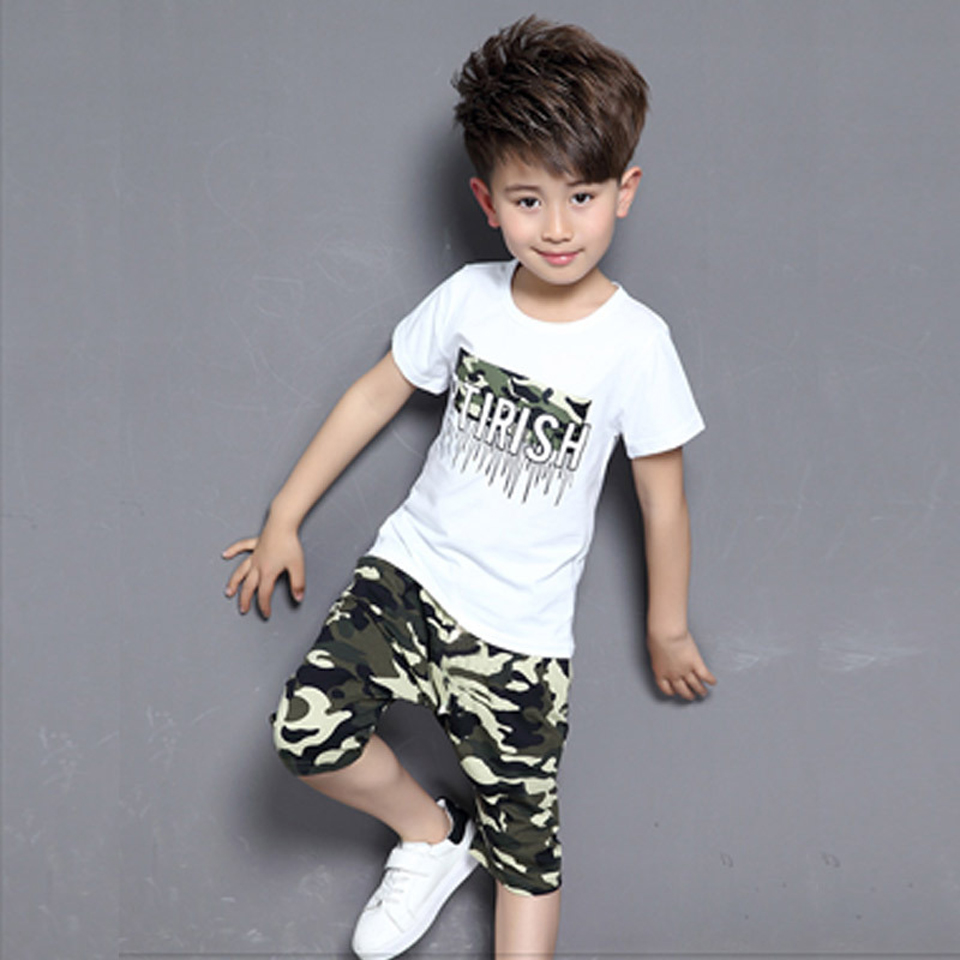 Brand New 2018 Summer Baby Boys 2pc Children Suits Clothes Kids Toddler Short Sleeve Clothes Sets Baby Boys Clothing 2 Colors