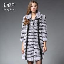2017 Winter New Genuine Rex Rabbit Fur Coat Women Chinchilla Natural Fur X-long Jacket Real Rabbit Fur Thick Warm Outwear Coat