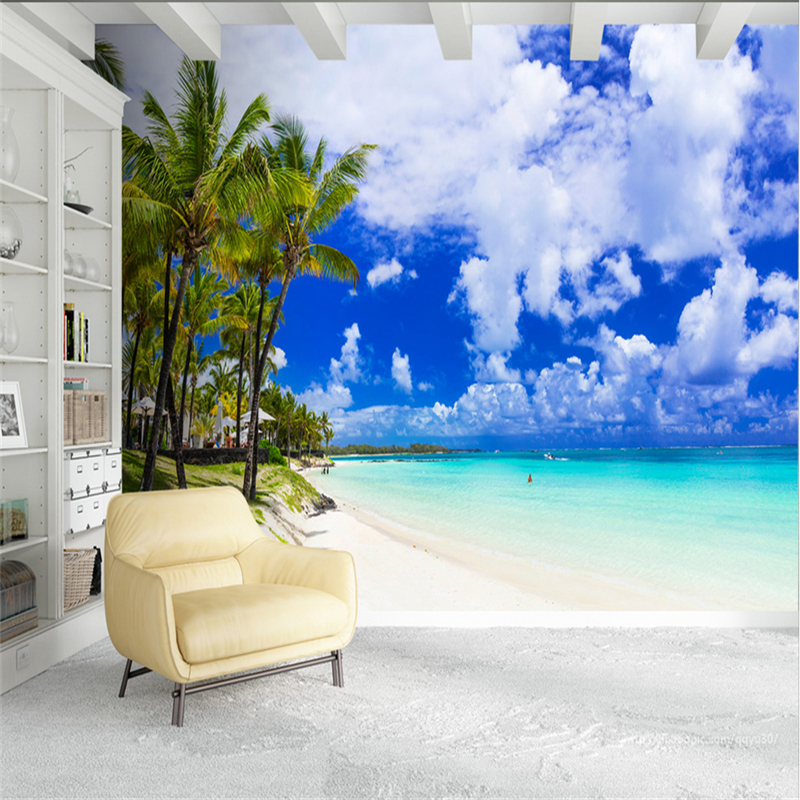 Custom Wallpaper Murals Beach 3D Wall Murals Scenery Environment Friendly Bedroom Restaurant TV Background Living Room Kitchen free shipping led european style ceiling light 10w 220v anti glare led meeting room offices hotels homelighting
