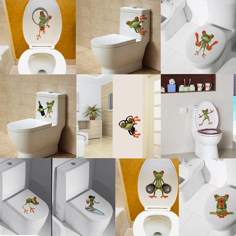 % 3D Cartoon animal 3d toilet stickers on the toilet seat cute frog PVC wall sticker bathroom refrigerator door decor stickers