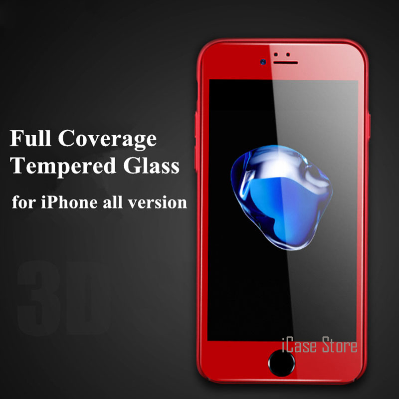 Premium Full Coverage Tempered Glass Screen Protector For IPhone 7 7 Plus 6 6S 6Plus 6S Plus 5 5s SE Protective 9H Glass Hot RED