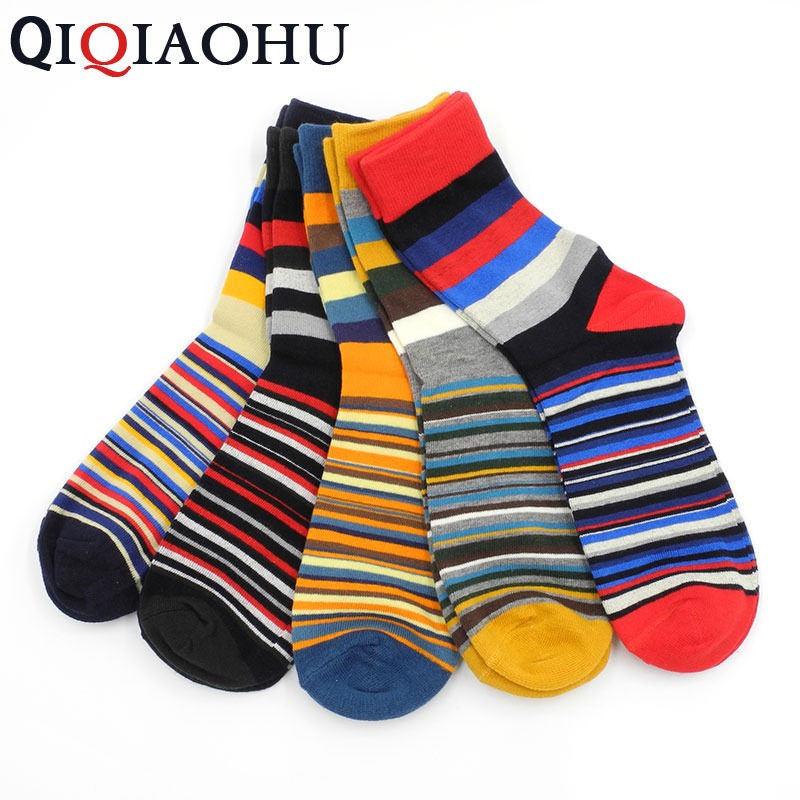 5 Paris In Lot Soc Rainbow Sock Cool Colorful Strip Long Geometry Fun Socks Mens Suits Dress Socks for Wedding meias calcetines
