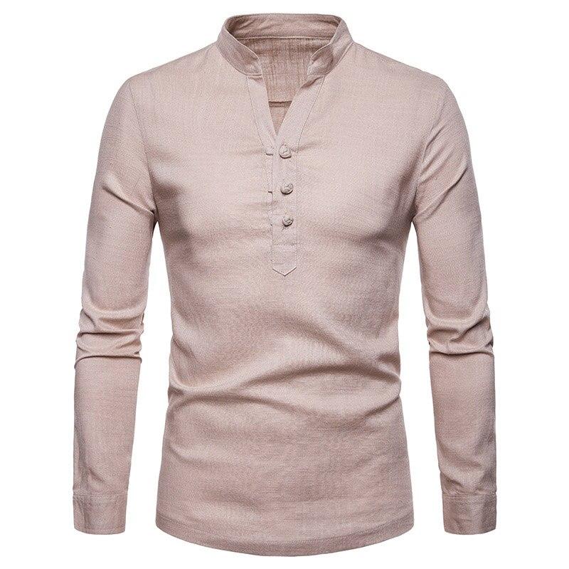 2019 Fashion Men Linen Shirt Mandarin Collar Breathable Comfortable Traditional Chinese Style Henley Men Casual Shirt