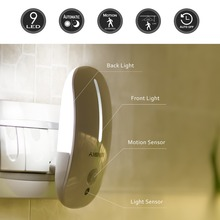 9 LED night light Infrared PIR human body Motion sensor ,Auto On/Off  110V 220V US EU UK Plug