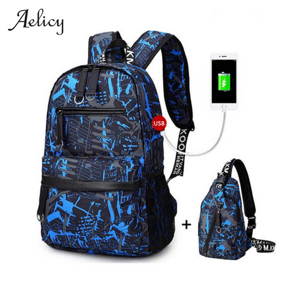 цены на Aelicy USB Charging 15.6 inch Laptop Backpack for Boy Schoolbag Men Backpack Male High School Students Backpack Boys School Bags