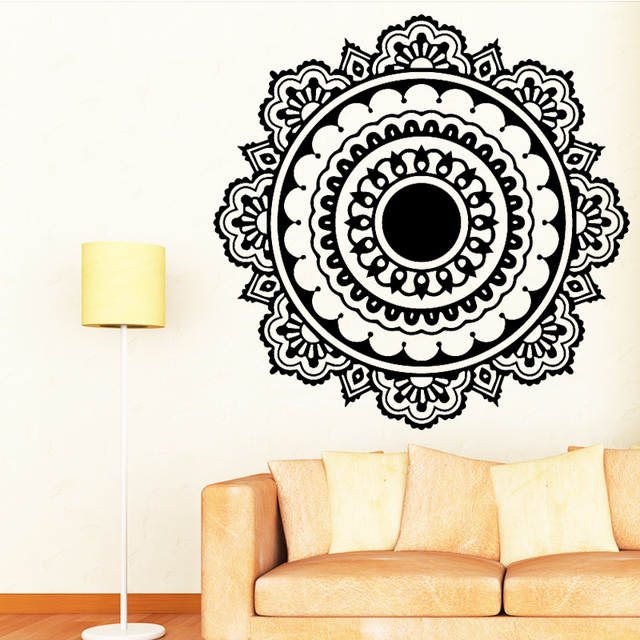 Buddhism India Mandala Wall Stickers For Living Room Namaste India Removable Creative Vinyl Wallpaper Mural Home Decoration