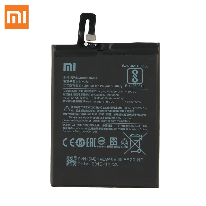 Xiao Mi Original Replacement Battery BM4E For Xiaomi MI Pocophone F1 Authentic Phone Battery 4000mAh in Mobile Phone Batteries from Cellphones Telecommunications