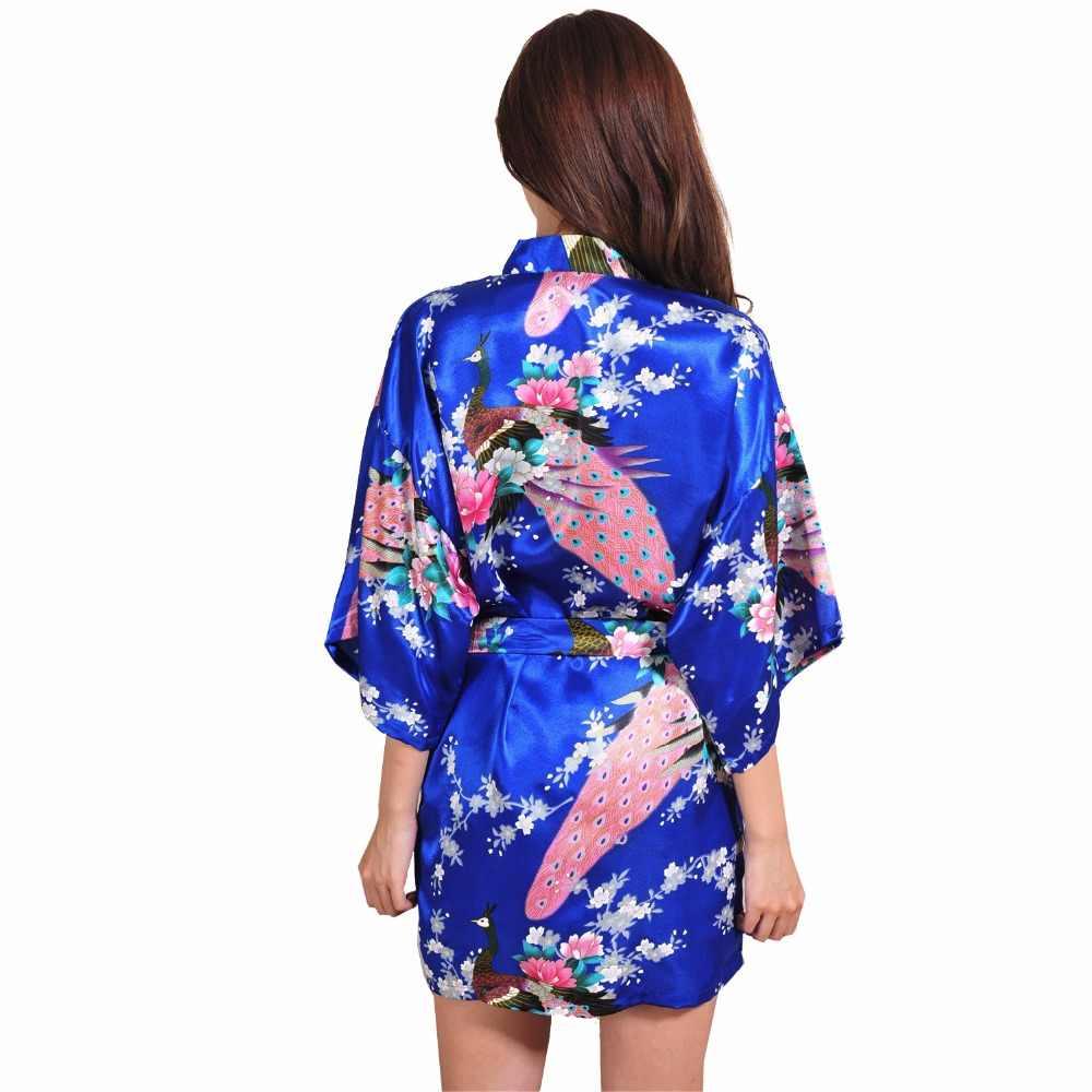 Purple womens bathrobe chinese peacock robe short night gown silk rayon  sleepwear yukata flower size jpg 8bc5788e6