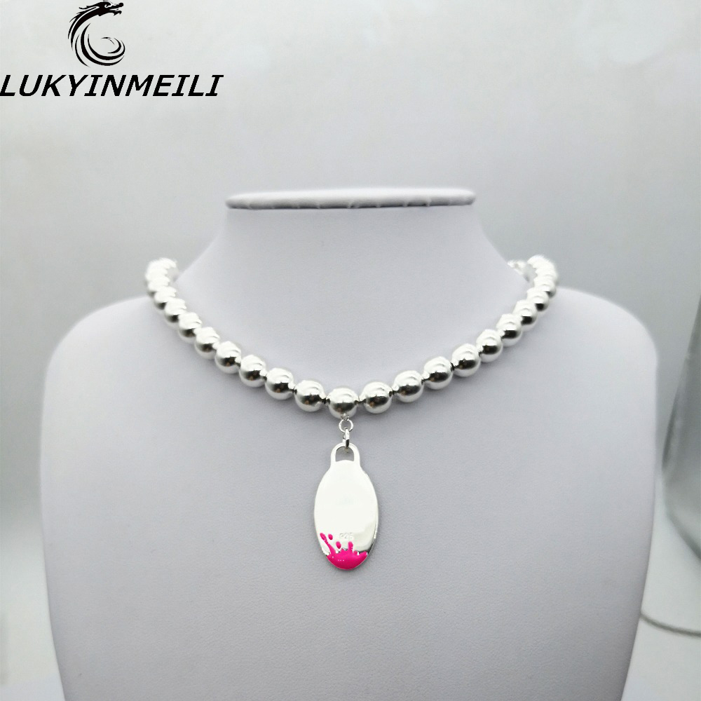 TIFF925 Sterling Silver Women's Necklace Pendant Symbol Popular Classic Pink Oval Blue Water Balls Fashion Jewelry Gifts