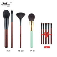 Anmor 3 Kopen 1 Gift Professionele Up Kwasten Kit Poeder Blush Fan Borstels met een gift eyeshadow brush set