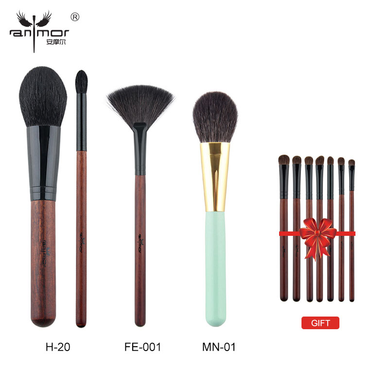 Anmor Buy 3 Get 1 Gift Professional Makeup Brushes Kit Powder Blush Fan Brushes with one gift eyeshadow brush set