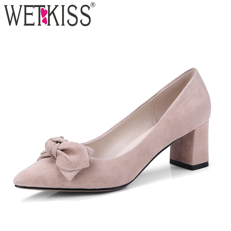 WETKISS 2018 Brand High Heels Women Pumps Pointed Toe Square Heels Kid Suede Butterfly Knot Footwear Spring Fashion Ladies Shoes new 2017 spring summer women shoes pointed toe high quality brand fashion womens flats ladies plus size 41 sweet flock t179