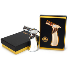Outdoor Butane Jet Lighter Gift Package Cigar Pipe Torch Turbo 4 Nozzles Fire Windproof Spray Gun Metal No Gas