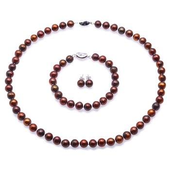 JYX 8-9mm Perle Halskette Set Kaffee Runde Züchteten Süßwasser Perle Halskette Armband und Ohrringe Set Hochzeit Schmuck