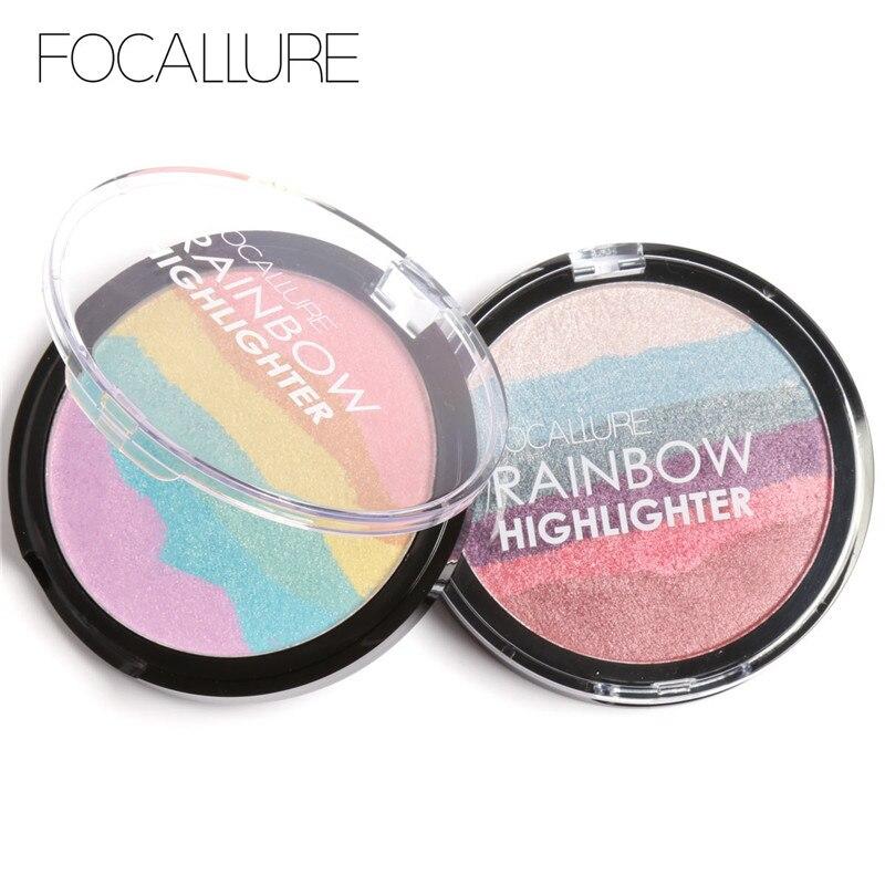 FOCALLURE New Wild Rainbow Highlighter Mineral Powder 3D Face Shimmer Bronzer Highlighter Makeup Rainbow Contouring