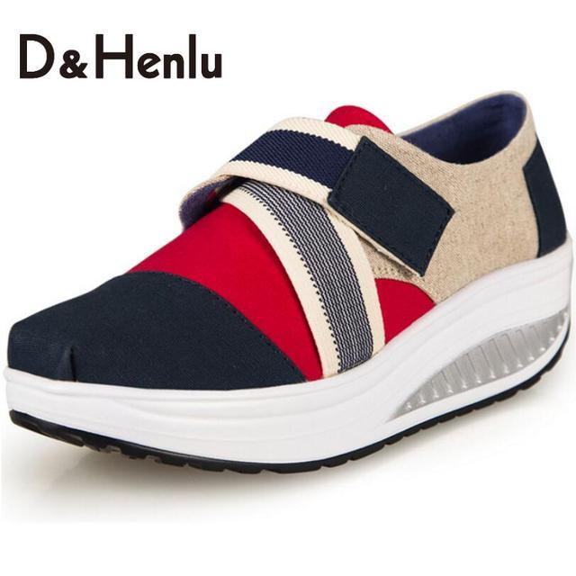 {D&H} Women's Vulcanize Shoes Women's Casual Shoes Platform Canvas Shoes Spring/Autumn Lose Weight Fitness Shoes Woman