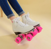 RENIAEVER Women's Classic Retro 4 Wheels Quad Roller skates skating shoe pink wheels,white shoes Aluminum Plate,free shipping
