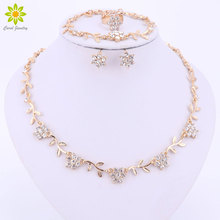 African Beads Jewelry Sets For Women Wedding Gold Color Cute Flower Pendant Necklace Stud Earrings Ring Dress Accessories