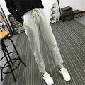 Verão Novas Calças de Fitness Calças Compridas Lazer Feminino Suave para As Mulheres Com Cordão Cor Sólida Harem Pants Casuais Plus Size M-2XL