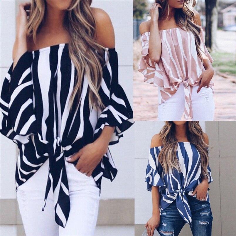 2018 women Tops Slash Neck Print Striped Off Shoulder Waist Tie Short Sleeve Casual T Shirts Tops Camisole #J05