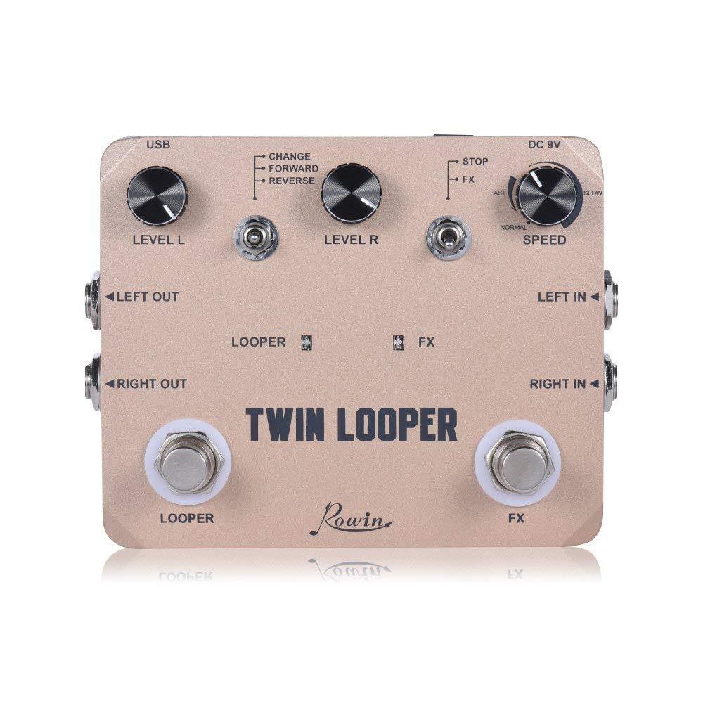 Rowin Double Boucleur Station Électrique Guitare Pédale D'effet Loop Station pour les Guitaristes D'or