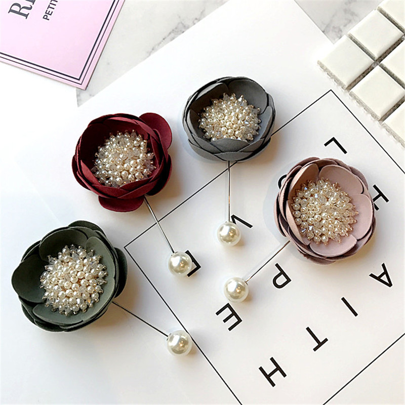 Korea Handmade Modern Flower Simulated Pearl Brooches Pins Badges Fashion Jewelry For Woman Suits Accessories-YHGWBH023F