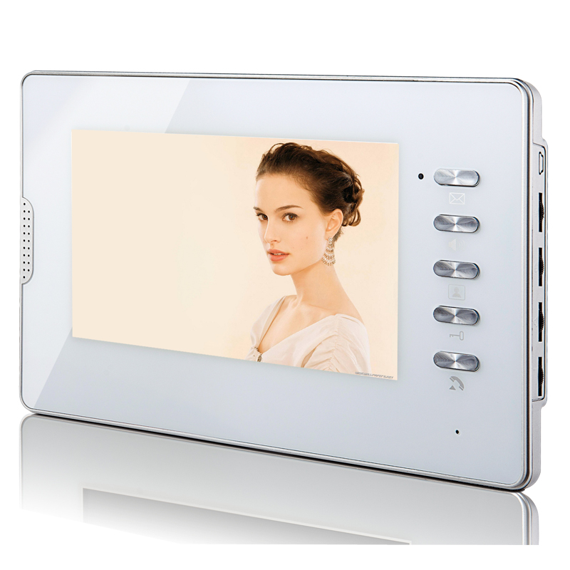 FREE SHIPPING 4-pin 4 wire Wired 7 inch TFT LCD Color Screen Video Door Phone Intercom Indoor Monitor White Panel Wholesale