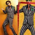 Stripe blazer formal dos homens vestido mais recentes modelos casaco calça terno homens homme traje terno fino masculino ternos para homens coreano fase