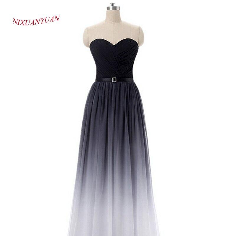 NIXUANYUAN Chiffon Long Party Dress 2017 Sweetheart A Line Prom Kjole - Spesielle anledninger kjoler - Bilde 4
