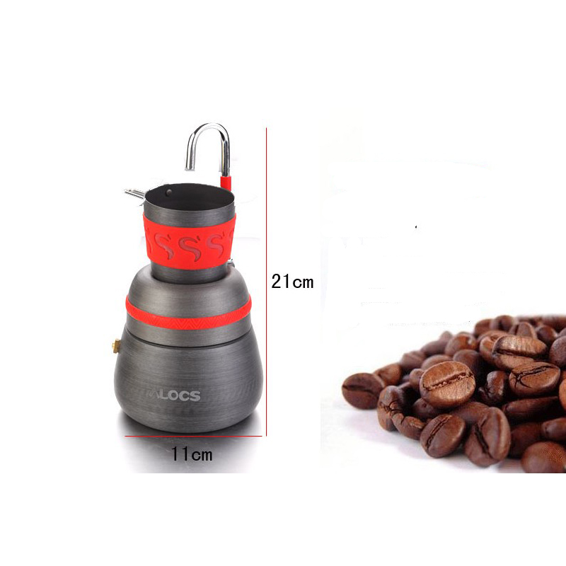 Image 5 - 350ml outdoor camping tableware picnic coffee pot with cups can  be used to burn the stove aluminum alloy coffee machine cocoaOutdoor  Tablewares