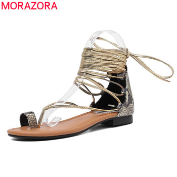 MORAZORA 2019 new arrival genuine leather shoes women gladiator sandals rome summer lace up fashion beach shoes woman flat shoes